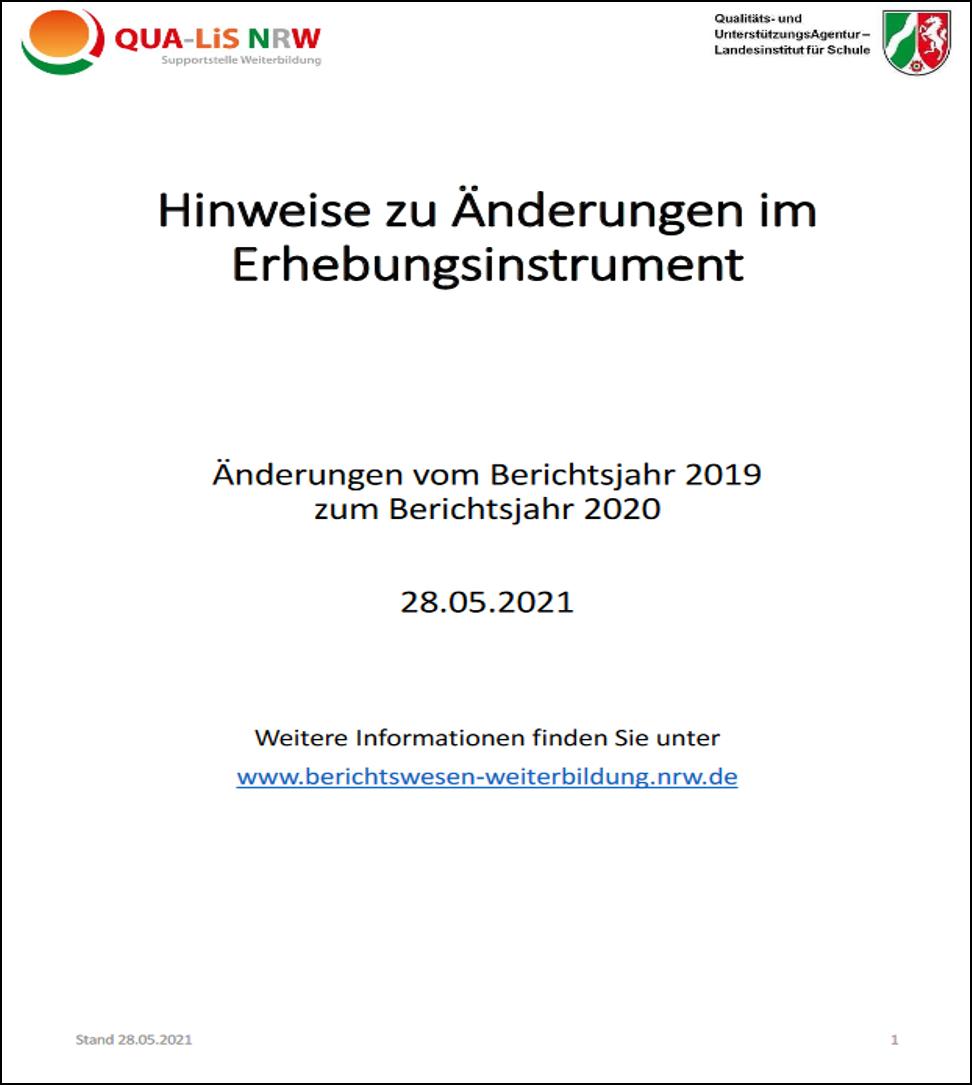 Download (PDF, 1.27MB) Hinweise zu Änderungen im Erhebungsinstrument: Berichtsjahr 2020 zu 2019 (Stand Mai 2021)